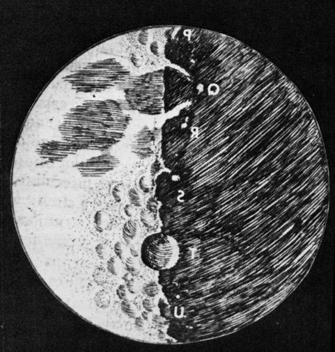 Вид Луны в телескоп, зарисованный Галилеем во время наблюдений