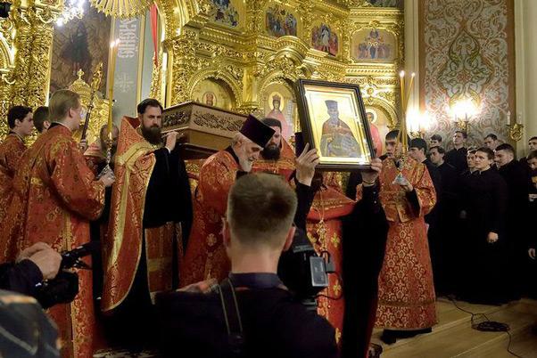 Перенос мощей Александра Флегинского в Екатерининский кафедральный собор