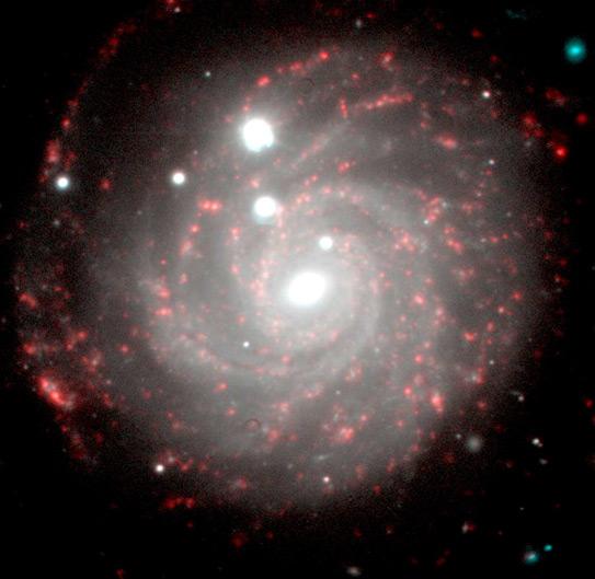 Рис 2. Фотоснимок удалённой галактики, выполненный астрономами САО В. Афанасьевым и А. Моисеевым. Расстояние до этого объекта - более 100 млн св. лет.