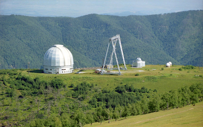 Панорама верхней площадки - оптические телескопы САО РАН